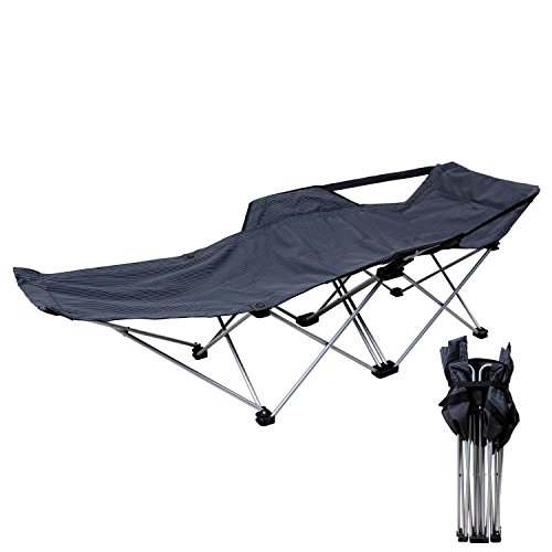 camp solutions strong stable folding camping bed cot with storage