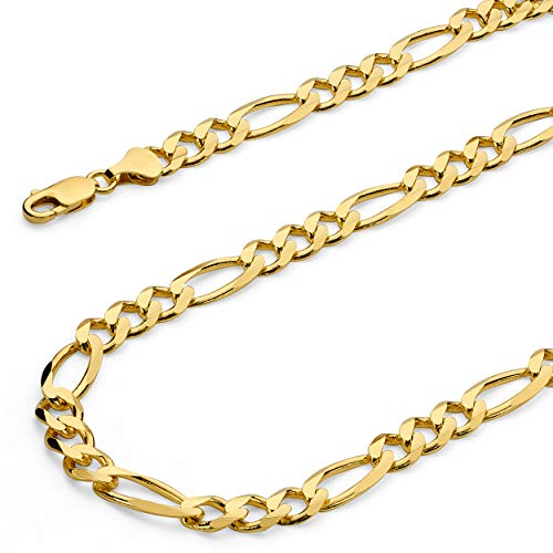 The World Jewelry Center 14k Yellow Gold SOLID Men's 6.5mm Figaro 3+1 Concave Chain Necklace with Lobster Claw Clasp - 22