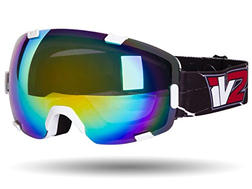 IV2 Gloss White High Performance Ski and Snowboard Goggles | Ionized, Dual Layer Anti-Fog Optical Lens | Helmet Compatable with Extra Long Adjustable Strap (Goggles Ionized Snowboard)