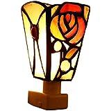 FUMAT Tiffany Night Light Rose Color Galss Bedroom Bedside Lamp Wall Plug Energy-saving Baby Nightli