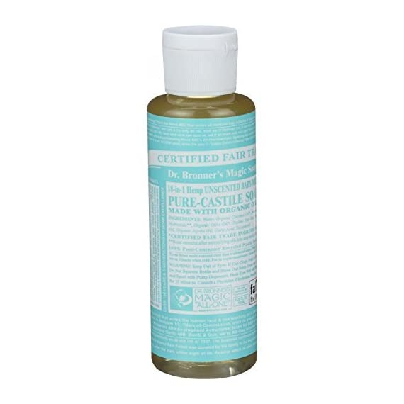 Dr. Bronners - Pure-Castile Liquid Soap (Baby Unscented, 4 Ounce) - Made with Organic Oils, 18-in-1 Uses: Face, Hair, Laundry, Dishes, For Sensitive Skin, Babies, No Added Fragrance, Vegan, Non-GMO 1 Dr Bronners Magic Soap All One Csba04 4 Oz Baby Mild 18 In 1 Dr. Bronner'S Liquid Soap