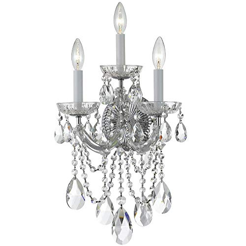 (Crystorama 4423-CH-CL-SAQ Crystal Three Light Sconces from Maria Theresa collection in Chrome, Pol. Nckl.finish, 8.00 inches)