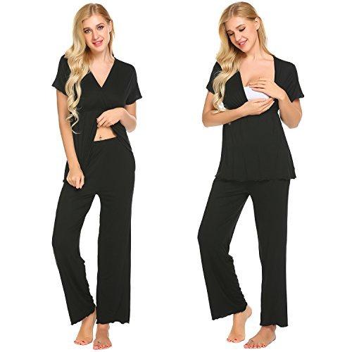 MAXMODA Women's Pajama Set - Sleepwear in Viscose - Nightwear PJ Set (Black XL)