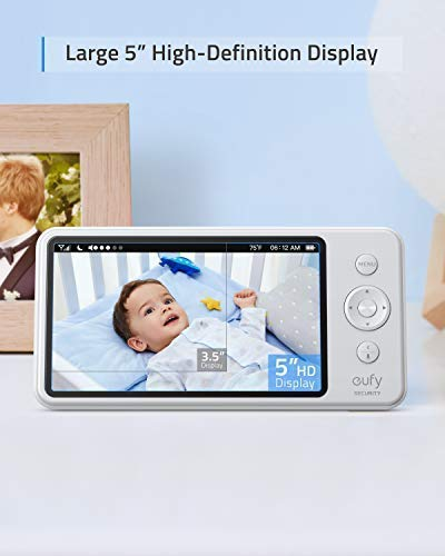 Baby Monitor, eufy Security Spaceview S Video Monitor, Peace of Mind for New Moms, 5'' LCD Display, 110° Wide-Angle Lens Included, 720p HD, Lullaby Mode, Night Vision, Day-Long Battery, Crib Mount