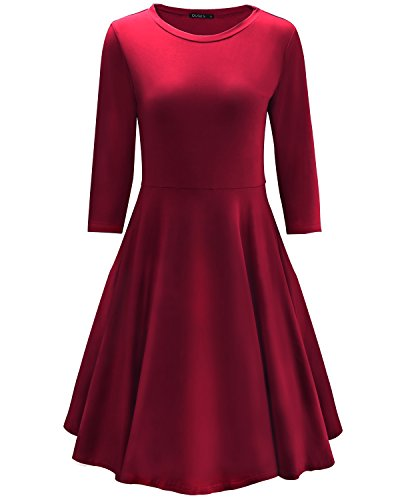 OUGES Women's 3/4 Sleeve Casual Cotton Flare Dress(Wine,XXL)