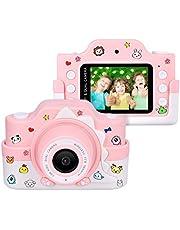 """Funkprofi WiFi Digitalkamera für Kinder mit Cartoon Schutzhülle 2 Objektive 24 MP HD 2.0"""" IPS-Bildschirm mit Aufklebern Digitalkamera als Geschenk Spielzeug (Gelb + 16 G Karte)"""