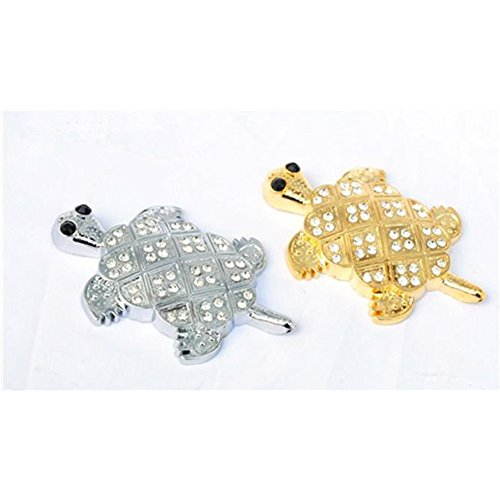 2PCS Silver and Gold Auto Car Silver Tone Black Plastic Tortoise Sticker Detailing Decal(Tortoise)
