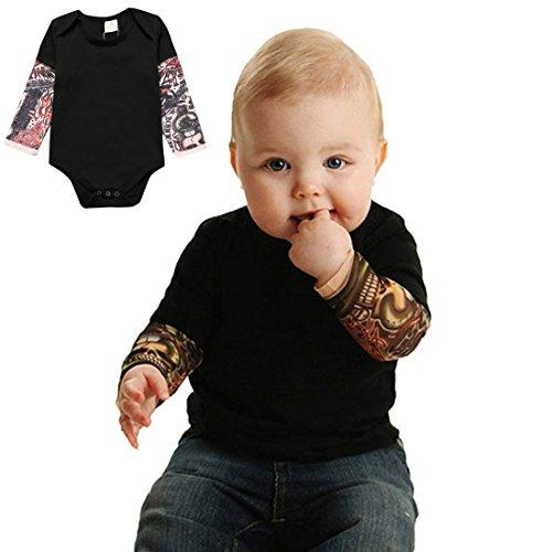 PAUBOLI Fake Tattoo Sleeve Shirt Onesie Bodysuit for Baby boy 3-24 Months Gray Black
