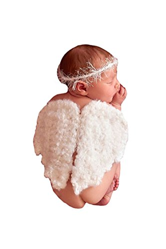 Liange Newborn Baby Photography Prop Halo Hairband Angel Wings Costume (Angel Halo Fancy Dress)