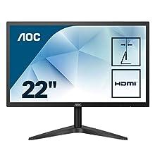 "AOC 22B1HS - Monitor de 21.5"" FHD (IPS, VGA, HDMI, Sin Bordes, Flicker Free y Low Blue Light) Negro"