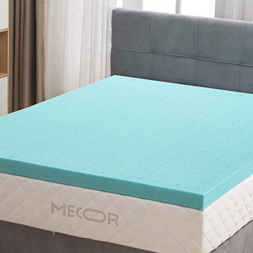 "Mecor 3 Inch 3"" Mattress Topper Twin Size-100% Gel Infused Memory Foam Mattress Topper w/CertiPUR-US Certified Ventilated Foam Contributes to a Cooler Night Sleep, Soft but Firm Support, Blue"