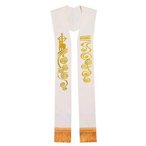 BLESSUME Church Priest Chasuble Stole White