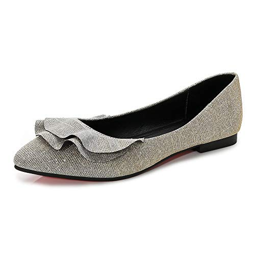 Meeshine Womens Shoes Faux Suede Slip On Scallped Collar Glitter Pointed Toe Ballet Flats