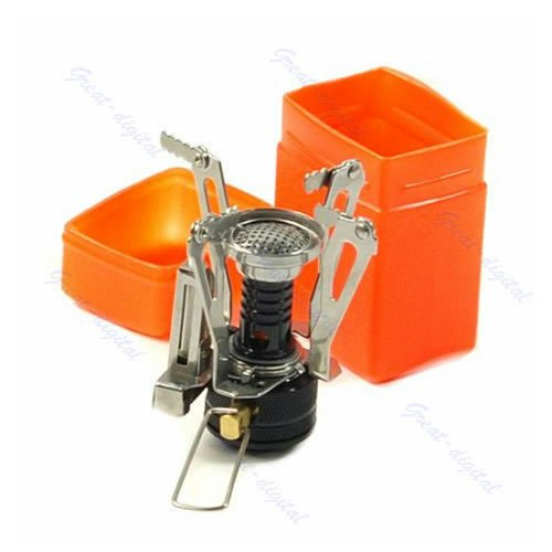 Portable Outdoor Picnic Gas Burner Foldable Camping Mini Steel Stove Case New