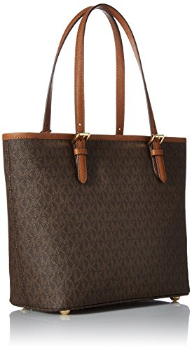 Michael Kors Jet Set Item Medium Top Zip Snap Pocket Tote - Bolsos totes Mujer Marrón (Brown)