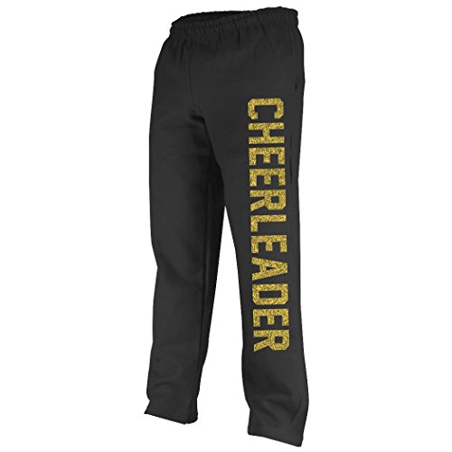 Varsity Cheerleader Sweatpants | Cheer Apparel by ChalkTalk SPORTS | Black/Gold | Adult (All Sport Capri Apparel)
