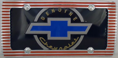 1, Genuine Chevrolet, with Blue Bow Tie, on a Metal Sign, in a Red, Chrome Billet Metal Border,10A2.2&19A4.5