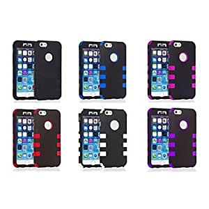 SOL 3 in 1 Robot Style PC and Silicone Composite Case for iPhone 6 (Assorted Colors) , Black