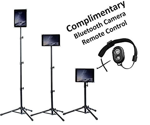 Universal Floor IPad and Tablet Tripod Stand Mount +COMPLIMENTARY BLUETOOTH SHUTTER REMOTE. Fits iPad mini, iPad Air, Samsung Galaxy, Dell, Sony, Microsoft Surface, Google Nexus CARRYING CASE (Android Kiosk)