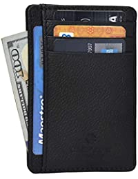 RFID Front Pocket Slim Wallets for Men - Genuine Leather...