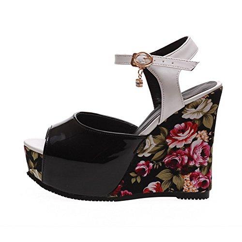 AmoonyFashion Womens Blend Materials High-Heels Peep-Toe Assorted Color Buckle Sandals Black vntKcQLCn