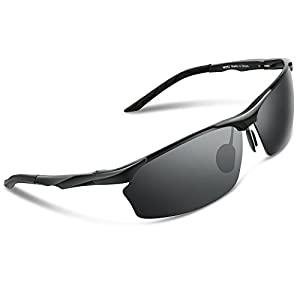 Torege Men's Sports Style Polarized Sunglasses For Cycling Running Fishing Driving Golf Unbreakable Al-Mg Metal Frame Glasses M292
