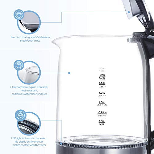 COSORI 1.7L Electric Kettle(BPA-Free), Cordless Glass Boiler,Coffee Pot,Water & Tea Heater with LED Indicator,Auto Shut-Off & Boil-Dry Protection,100% Stainless Steel Inner Lid & Bottom,1500W,CO171-GK by COSORI (Image #4)'