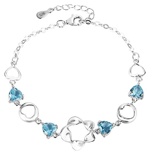 Zirconia Cubic Heart Aquamarine (EleQueen 925 Sterling Silver Cubic Zirconia Flower Love Heart Wedding Bracelet Chain Aquamarine Color)