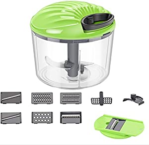 ChefHachiro Multi-Purpose 2-in-1 Rotary Food Chopper, Hand-powered Vegetable Slicer, Handheld Onion Food Processor Cutter, Easy to Clean Oriental Kitchen Appliance with Sharp Blades