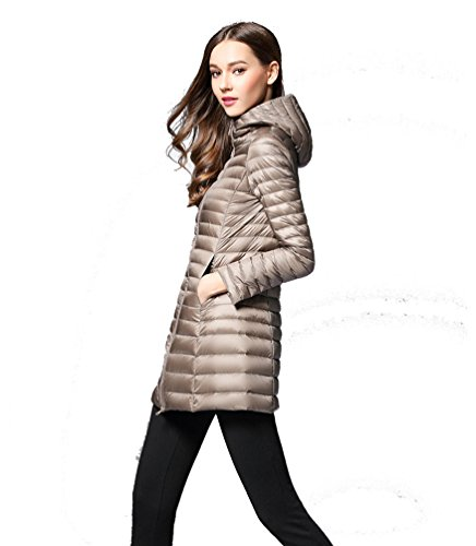 Hoodie Puffer Outwear and Windproof Down Jacket Autumn Lightweight Womens Winter Packable Jacket Camel Slim Padded Coat Fit ZKOO qF5wBxZ