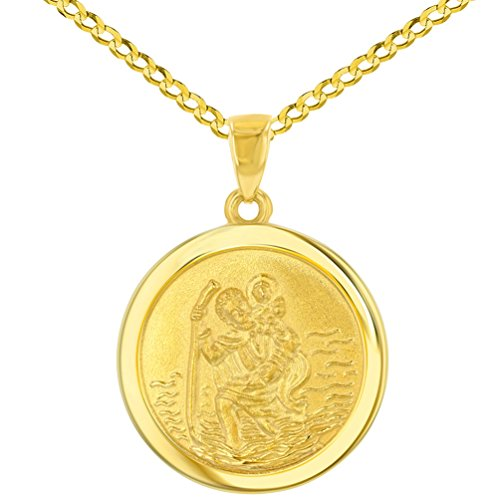14k Yellow Gold Round Saint Christopher Medal Pendant Cuban Chain Necklace, 24'' by JewelryAmerica (Image #4)