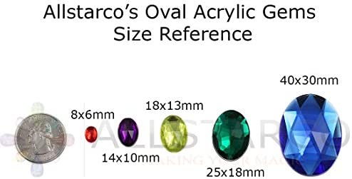 20 Pieces 25x18mm Blue Sapphire H104 1 Large Flat Back Oval Acrylic Rhinestones Cosplay Gems Plastic Jewels Embelishments DIY Crafts