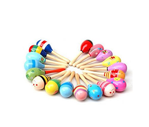 3PCS Color Child vocal musical creativity toy trumpet sand hammer wooden rattles