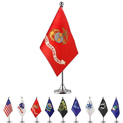 TSMD US Marine Corps Desk Flag Small Mini United States Military Table Flags with Stand Base,Decorations Supplies for Army Party Events Celebration ()