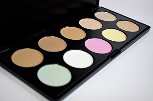 Creamy Concealer 10 Color Palette Compare to LA Girl Yellow Green Orange Lavender White Under eye Conceal and Highlight Cream Base