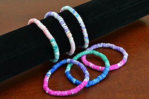 - JumpingLight 6 PCS Mixed Color Handmade PUKA CHIP Coco Shell Stretch Bracelet 7'' #B-206 Beach Wedding Nautical Decor Crafts - Beach Nautical