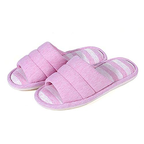 Shevalues femmes Douces Pantoufles Intérieures Ouvertes Toe Coton Mémoire Mousse Slip Sur Maison Chaussures Pantoufles Maison Rose Foncé