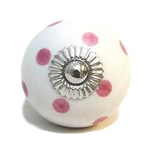 Pomo de Ceramica Blanco con Lunares Rosa, Pomo para Puertas, Gavetas, Gabinetes
