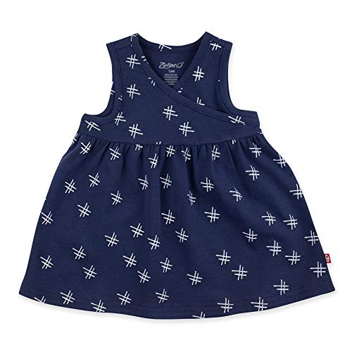 (Zutano Baby Girl Organic Cotton Summer Dress, True Navy Hashtag/Surplice, 18M)