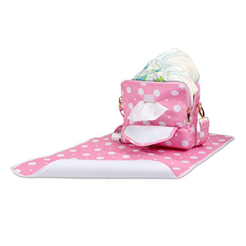 Diaper Clutch Kit with 3 Separate Zippered Compartments Holds Portable Lined Changing Pad, Built in Baby Wipes Pouch and All You Need for a Quick and Easy Change