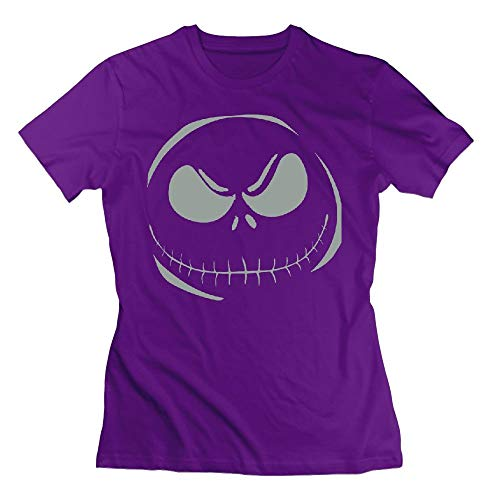 Toxic Scary Smileyace Halloween Horror Style Womens Tshirts Purple ()