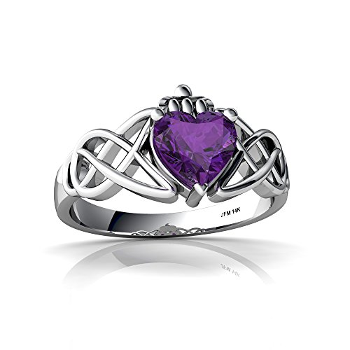 14kt White Gold Amethyst 6mm Heart Claddagh Celtic Knot Ring - Size 8 (14kt Ring Claddagh)