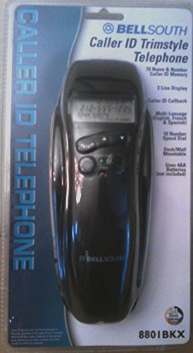 Bell Telephone South - BELL SOUTH BS8801BK Black Trimstyle Corded Telephone with Call ID Display