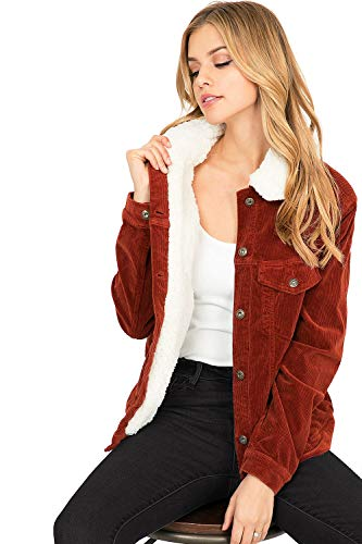 Jacket Corduroy Women - Sneak Peek Jeans Women's Sherpa Lined Corduroy Jacket (L, Rust)