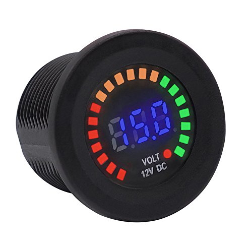 BlueFire 12V Color LED DC Digital Display Voltmeter Panel Waterproof Tester Volt Gauge for Car Motorcycle Truck Boat Marine (Dc Digital Voltmeter Panel)