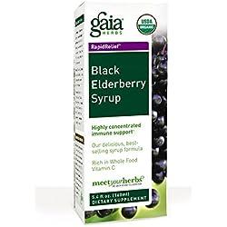 Gaia Herbs Black Elderberry Vegan Syrup, 5.4 Ounce - Sambucus Black Eldberberry Immune Support with Antioxidants USDA Organic