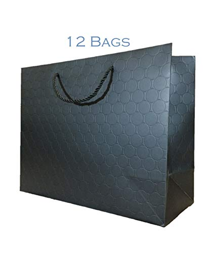 Large Black Gift Bags with Handles 12 Pack 13 x 5 x 10 Heavy Duty 250 g Paper Shopping Bags Premium Elegant Matte Modern Circle Embossed for Merchandise, Wedding, Baby Shower (Black, 13