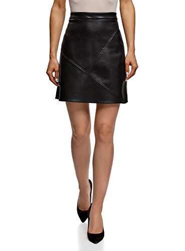 oodji Ultra Women's Faux Leather Trapeze Skirt, Black, 6