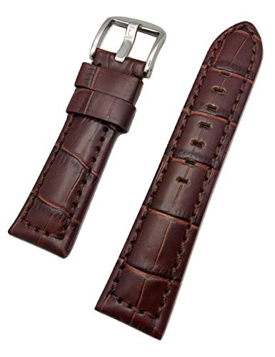- 22mm Brown Panerai Style, Sporty Genuine Leather Watch Band | Alligator Crocodile Grained, Medium Padded Replacement Wrist Strap Bracelet That Brings New Life to Any Watch (Mens Standard Length)