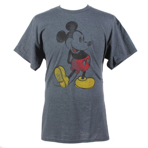 [Disney Mickey Mouse Classic Distressed Graphic T-Shirt Heather Grey X-Large] (Family Disney Shirts)